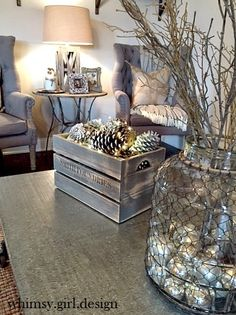 whimsy girl: Holiday House Walk {Part 1} Neutral décor, rustic elements, French flair and industrial touches. Whimsy Girl Christmas living room.
