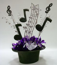 DIY Unique Upper Scale Music Centerpieces for theme party table decorations, bar and bat mitzvahs. Music Centerpieces, Party Centerpieces, Centerpiece Ideas, Graduation Centerpiece, Broadway Party, Music Themed Parties, Diy Party Music, Party Table Decorations, Wedding Decoration