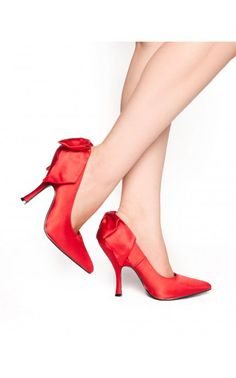 Bombshell Heel with Bow in Red Satin - Shoes | Pinup Girl Clothing