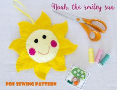 Items similar to Noah, the smiley sun - PDF sewing pattern, felt sun, ornament, softie on Etsy Sewing Hacks, Sewing Projects, Pdf Sewing Patterns, Smiley, Baby Gifts, Felt, Christmas Ornaments, Unique Jewelry, Handmade Gifts