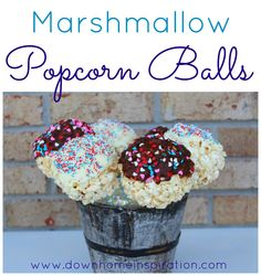 Sounds delicious, and it would be perfect for parties!  Marshmallow Popcorn Balls (on a stick) - Down Home Inspiration
