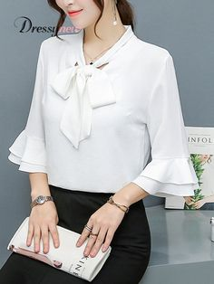 Buy Tie Collar Bowknot Plain Bell Sleeve Blouse online with cheap prices and discover fashion Blouse Dress Neck Designs, Blouse Designs, Bell Sleeve Blouse, Bell Sleeves, Cheap Maxi Dresses, Blouse Outfit, Mode Hijab, Trendy Tops, Blouse Styles