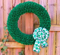 St. Patrick's Day Wreath, Shamrock Wreath, Irish Wreath, St. Patricks Day Decor, Spring Wreath, Green Felt Wreath