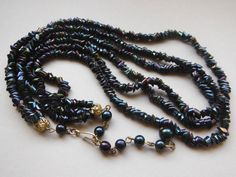 Vintage Triple Strand Peacock Carnival Bead Necklace by WhimsicalFig on Etsy