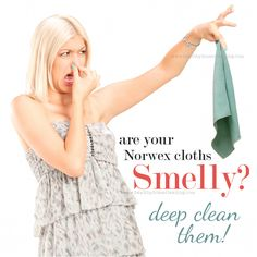Stinky smelly Norwex Microfiber Cloths.  So far I've been able to boil my Norwex cloths to get the smell out.  However if that fails to work, I'll give her suggestion of soaking them with a bunch of the Norwex detergent in the sink for 30 minuets a try.  Thanks for the great post!