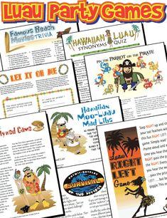 Luau Party Games Pack - Printables!  #summer #beach #printables