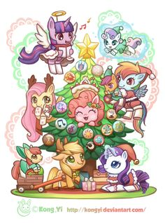 Merry Christmas with My little pony! by koyii-kong on DeviantArt My Little Pony Drawing, Mlp My Little Pony, My Little Pony Friendship, Vinyl Scratch, My Little Pony Wallpaper, Mlp Fan Art, Imagenes My Little Pony, Elf Costume, My Little Pony Pictures