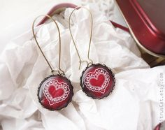 Ruby earrings Red earrings  Valentine's Day jewelry. by CitrusCat, $23.00