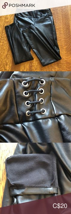 Fleece Lined Faux Leather Legging Good condition, worn a few times only Other Faux Leather Leggings, Leather Jacket, Plus Fashion, Fashion Tips, Fashion Trends, Times, Outfits, Collection, Things To Sell