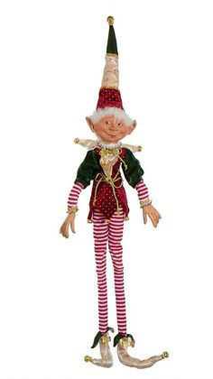 Christmas elf Edwyrd 11 inches in woodland costume Christmas Angels, Christmas Holidays, Christmas Ornaments, Christmas Ideas, Disney Christmas Decorations, Bethany Lowe, Lighted Canvas, Red And White Stripes, Costumes