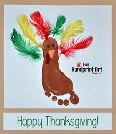 Footprint Craft: Thanksgiving Turkey made using Feathers #HandprintHolidays