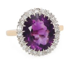 American Beauty: Amethyst Diamond Cluster Ring  - The Three Graces