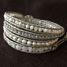 Elegant 4 wrap bracelet. Day to night, casual, classic chic. Peals, crystals, mother of pearl and shell beads. Pure elegance.