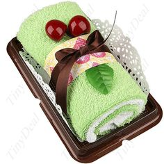 Novelty Cherry Accented Long Swiss Roll Dessert Pastry Shaped Packaged Towel Decorative Handkerchief Assorted Color HFT-20962