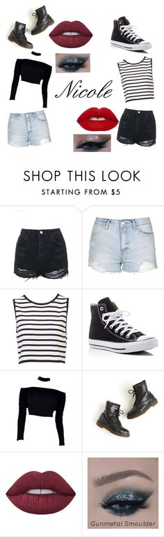 """Nicole"" by kittycat123gray on Polyvore featuring Topshop, Converse, Dr. Martens and Lime Crime"