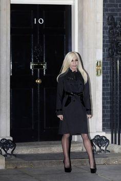 Donatella Versace at 10 Downing Street