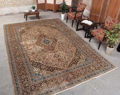 "Oriental Vintage Floral Hooked Area Rug, 7'12"" x 11'5"" , Code: 071413 Persian Rug large rug Geometric Rug, Tribal Rug, Carpet Shops, Living Room Area Rugs, Farmhouse Rugs, Vintage Rugs, Vintage Floral, Brown Rug, Floral Rug"