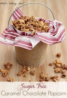 This Sugar Free Caramel Chocolate Popcorn is made using Werther's Original Sugar Free Candies. This popcorn makes a delicious sugar free snack. Sugar Free Deserts, Sugar Free Snacks, Sugar Free Candy, Sugar Free Sweets, Sugar Free Recipes, Popcorn Snacks, Popcorn Recipes, Candy Recipes, Snack Recipes
