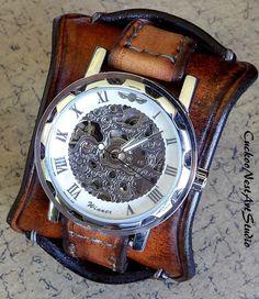 Leather Watch Cuff Men's Leather Watch by CuckooNestArtStudio, $165.00