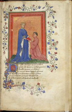 Miniature of Prince Henry presenting the book to John Mowbray, 2nd duke of Norfolk, who kneels before him, Arundel 38, f. 37.