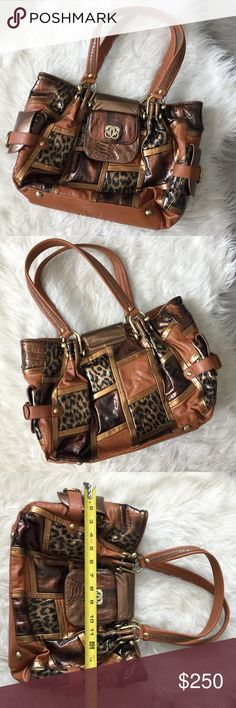 Sharif Handbags Leather Animal Print Patchwork Bag EUC! Hardly worn, this was my great aunt's and she asked me to sell it for her. Beautiful hobo bag with a ton of compartments. Very stylish and fun with the animal prints- snakeskin print, leopard print, etc! Offers welcome, must go ASAP Sharif Bags Hobos