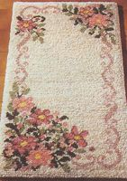 "Jessica 27"" x 55"" (68.6x139.7 cm) latch hook rug kit. Kit comes complete with stamped 3.3 mesh latch hook canvas, yarn is 2 x 3 ply pre-cut acrylic rug yarn (equivalent to 6 ply) and complete instructions. Requires latch hook tool to complete."