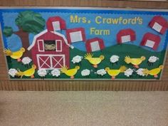farm bulletin board ideas for preschoolers . I chose this board because it is very creative and artistic Farm Bulletin Board, Birthday Bulletin Boards, Preschool Bulletin Boards, Classroom Crafts, Classroom Themes, Farm Animal Crafts, Farm Crafts, Preschool Crafts, Farm Animals