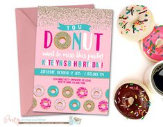 Hey, I found this really awesome Etsy listing at https://www.etsy.com/listing/252590153/donut-birthday-invitation-donut-party