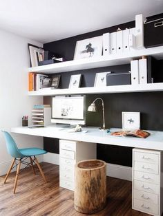 beautiful Home office with black walls Black is a beautiful, timeless color that never goes out of fashion. It fits perfectly to any shade ...