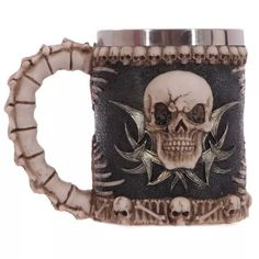 Ossuary Stainless Stell Liner Drinking Skull Mug Resin Skull Horror Decor Coffee Mug Cup for Halloween Bar Party Game Coffee Bullet, Coffee Cups, Tea Cups, Coffee Coffee, Morning Coffee, Vampire Skull, Fancy Shop, Horror Decor, Halloween Mug