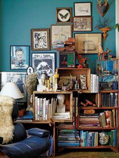 Beautiful clutter, teenage boys bookcase