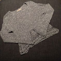 Boho Hollister Sweater Really pretty and soft sweater that's unique in style as well!  Only worn once!  Colors are gray and white knit.  Might be willing to trade! Hollister Sweaters Crew & Scoop Necks