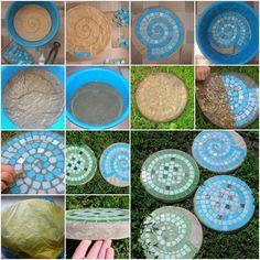 Pedras em mosaico, para um belo caminho no jardim! Escolher um recipiente flexível ajudará a desenformar... 1 - Corta um plástico adesivo do tamanho do fundo do recipiente. 2 - Monta o mosaico desejado. 3 - Coloca o trabalho no recipiente e cimento o bastante, aproximadamente 10 cm de altura. 4 - Esperar secar, desenformar... Daí é só retirar o plástico e estará pronta a primeira pedra!