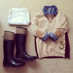White jeans for winter with hunter boots, chambray, and an elbow patch sweater
