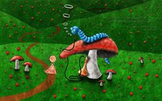 Pics For > Trippy Alice In Wonderland Caterpillar Smoking Hookah
