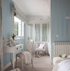 a cool blue dressing room with stripe wallpaper idea and rustic wooden dressing… My Room, Girl Room, Dressing Room Decor, Muebles Shabby Chic, Striped Wallpaper, House Rooms, Dream Bedroom, Decoration, My Dream Home