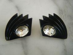 Gorgeous Vintage Black Enamel Crystal Earrings for Pierced Ears by DancingSunbeams on Etsy Black Enamel, Crystal Earrings, Ear Piercings, Vintage Black, Ears, Rings For Men, Crystals, Jewelry, Jewellery Making