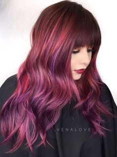 Burgundy And Purple Balayage Hair With Bangs
