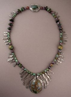 Necklace | Ahlene Welsh.  Sterling silver, agate and fancy jasper cabochons, African turquoise, lace amethyst, and agate beads