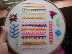 Hand Embroidery for Beginners: 11 Basic Stitches Embroidery Sampler, Hand Embroidery Stitches, Hand Embroidery Designs, Beaded Embroidery, Cross Stitch Embroidery, Embroidery Patterns, Embroidery For Beginners, Embroidery Techniques, Needlework