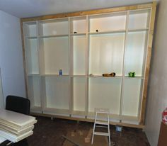 Materials: 2x80x202 Billy bookcases, 3x40x202 Billy bookcases, matching Billy height extension units Description: I've always longed for wall-sized bookshelve to my home office, so when we bought our new flat, I decided to go for it. After a bit of planning, Billy bookcases seemed the best fit. There are three 40×202 units combined with two …