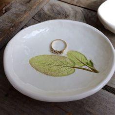 Herb Bowl, Herb Ring Dish, Herb Tea Bag Holder, Sage Leaf pottery dish, rustic Sage Pottery Bowl, Herb Spoon Rest, Herb saop Dish