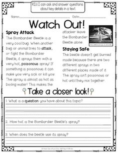 Take a Closer Look: Nonfiction Close Reading for Grade Reading Passages, Reading Comprehension, First Grade, Second Grade, Nonfiction Activities, 2nd Grade Reading, Close Reading, Common Core Standards, Summer School