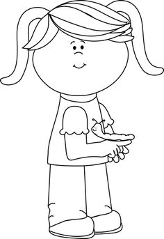 Black and White Girl with Caterpillar free clip art from mycutegraphics by Laura Strickland