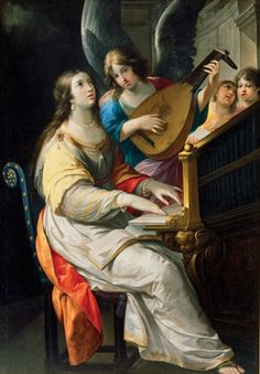 The musicians played, and the maiden Cecilia sang in her heart unto the Lord alone, saying: Lord, let my heart and my body be undefiled, that I be not ashamed. Music Painting, Art Music, Patron Saint Of Music, Sainte Cecile, Printable Bible Verses, Angels Among Us, Blessed Virgin Mary, Italian Renaissance, Museum Of Fine Arts