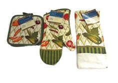 NEW #Veggies 4 pc Cook Set Oven Mitt Pot Holder #Kitchen Dish Cloth Towel #HomeCollection