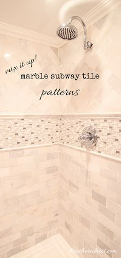 Going for a muted, neutral gray & white bathroom palette? Mix it up and add interest with different sizes, shapes and patterns of marble tile