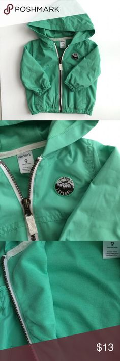 """NWT Carter's Jacket Windbreaker. 9 month. Meet Carter's Windbreaker Jacket with thin cotton lining. Has a patch on front that reads """"I was born to explore"""". Color is like a dark mint green, see picture 4 and 5 for more accurate color. Carters Jackets & Coats"""