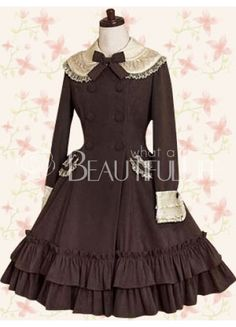 Classic Cotton Double Tiers Scalloped-Edge Button Natural Knee-length Lolita Dress With Tiers