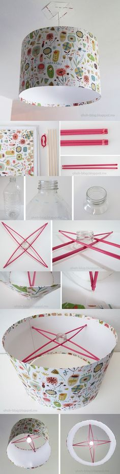 DIY Lampshade - why not, fun idea to try out - but due to the heat generated by the bulb, I'd only do with with an LED or CFL
